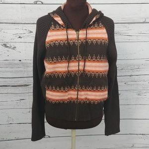 Calvin Klein Brown Zippered Hooded Sweater